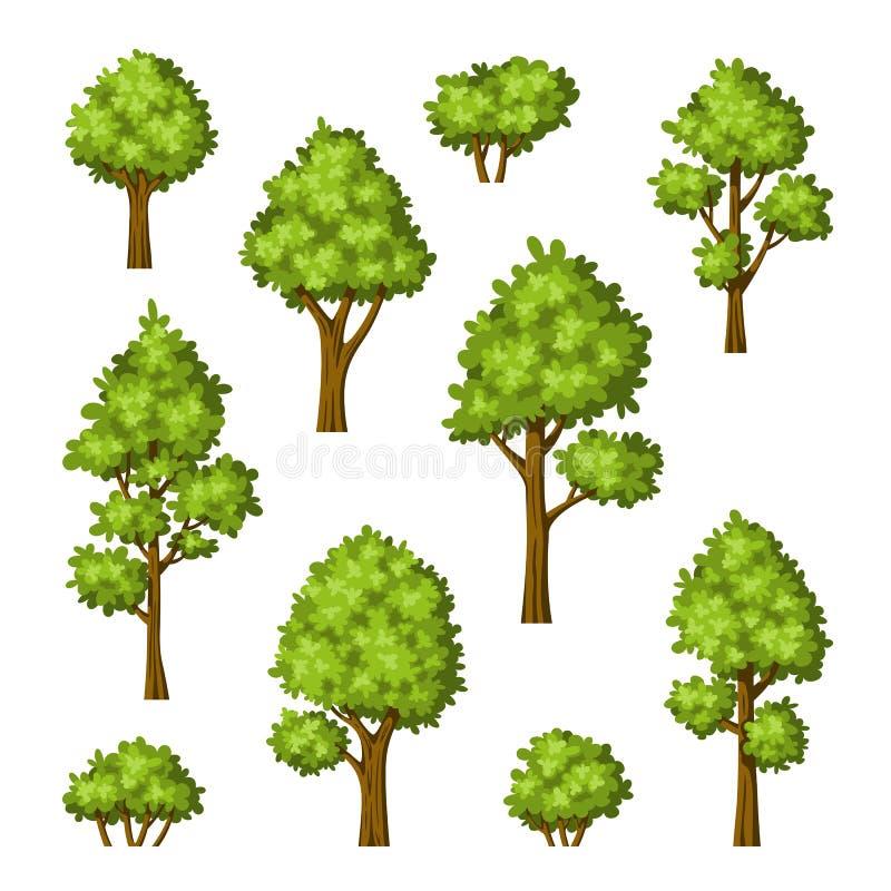 Kolekcja różni drzewa i krzaki ilustracja wektor
