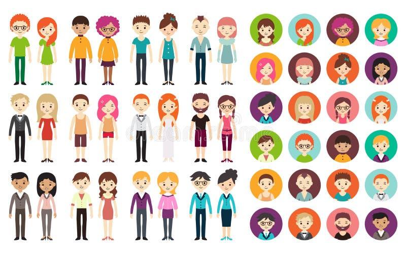 Kolekcja różni mężczyzna i kobiety ilustracji