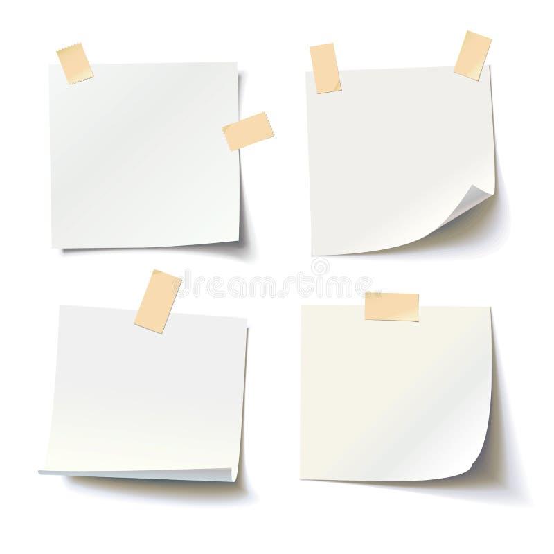 Kolekcja różnorodni biali nutowi papiery z fryzującą narożnikową i adhezyjną taśmą zdjęcie stock