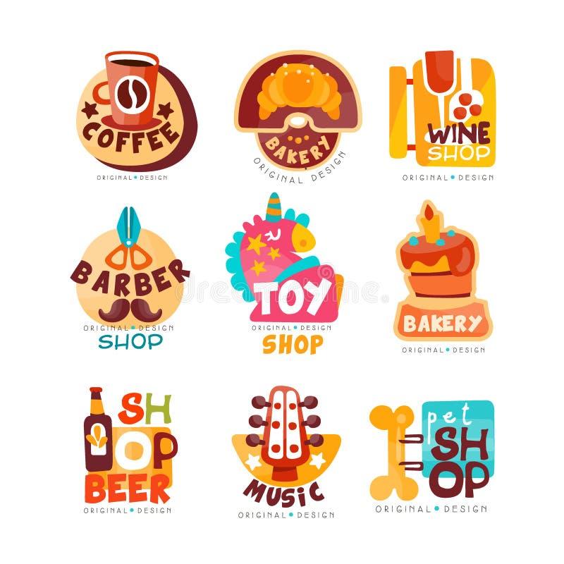 Kolekcja różnorodni sklepu loga szablony ustawiający, emblemat dla kawy, wino, fryzjer męski, zabawka, piekarnia, piwo, muzyka, z royalty ilustracja