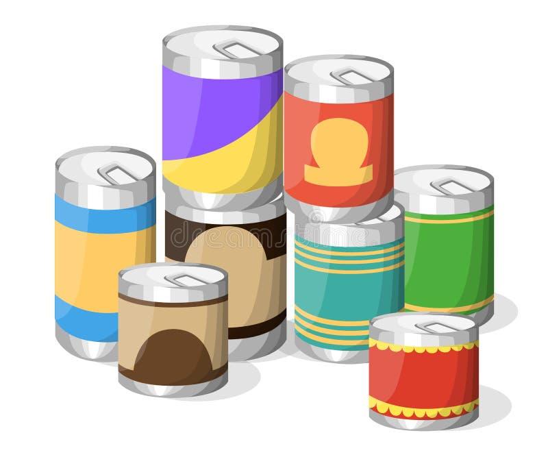 Kolekcja różnorodny cyna konserwować towarów metalu zbiornika karmowy sklep spożywczy i produkt składowa aluminiowa płaska etykie ilustracja wektor
