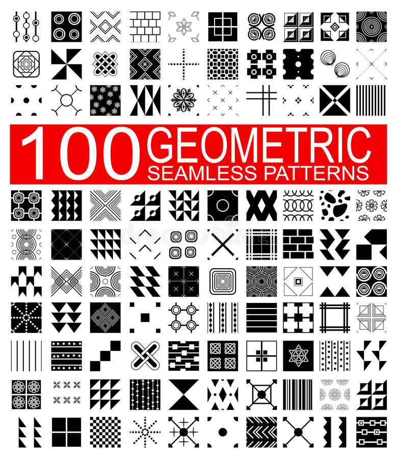 Kolekcja 100 różnych wektorowych geometrycznych bezszwowych wzorów royalty ilustracja