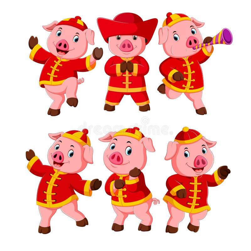 Kolekcja różowe świnie troszkę używa chińskiego nowego roku kostium ilustracja wektor