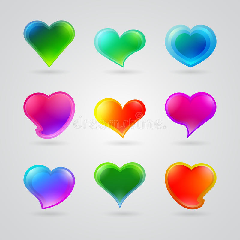 Download Kolekcja Różni Kolorów Serca Ilustracji - Ilustracja złożonej z pomarańcze, kolor: 28972286