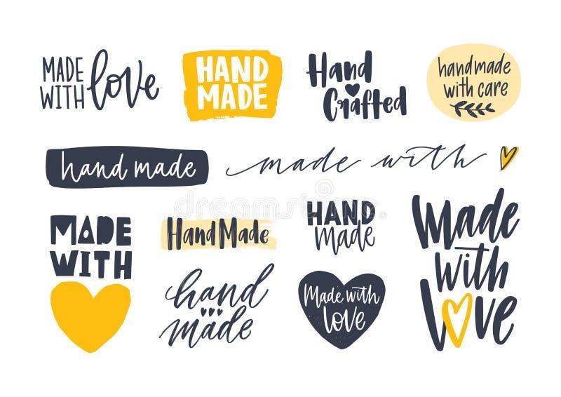 Kolekcja Ręcznie Robiony inskrypcje dla etykietek lub etykietki dla handcrafted towarów Set ręcznie pisany z elegancki literowani ilustracja wektor