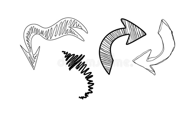 Kolekcja ręka rysująca strzały wektorowa ilustracja na białym tle ilustracji