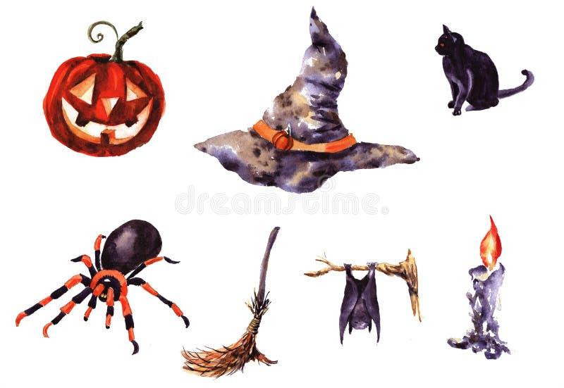 Kolekcja ręka rysujący charaktery Halloween royalty ilustracja
