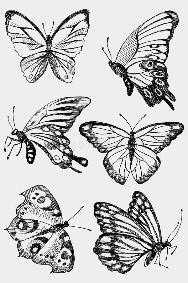 Kolekcja ręka Rysujący czarni sylwetka motyle Wektorowa ilustracja w rocznika stylu royalty ilustracja