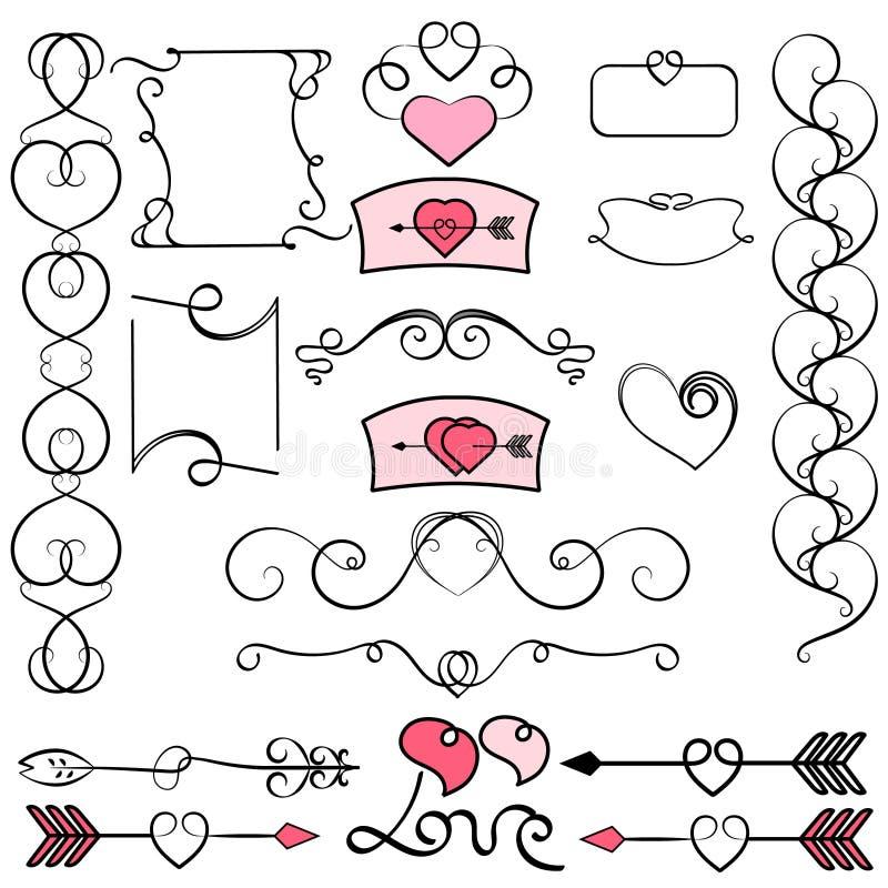 Kolekcja ręka rysujący rocznika zawijasa ornamenty z sercami Walentynki ` s dnia projekta elementy Walentynka dnia zaproszenie gr ilustracja wektor