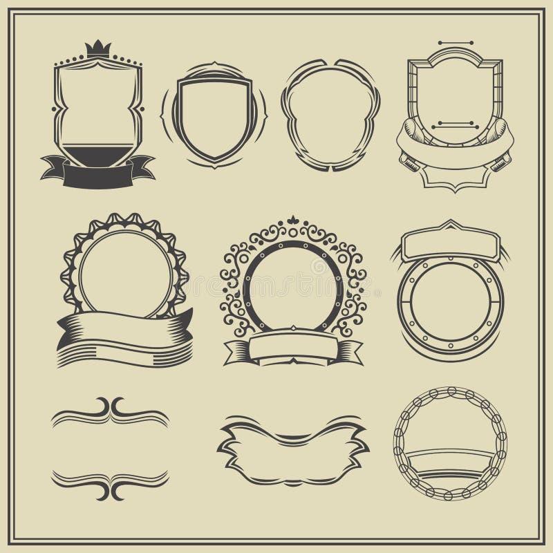 Kolekcja ramy i etykietki Retro, rocznik royalty ilustracja