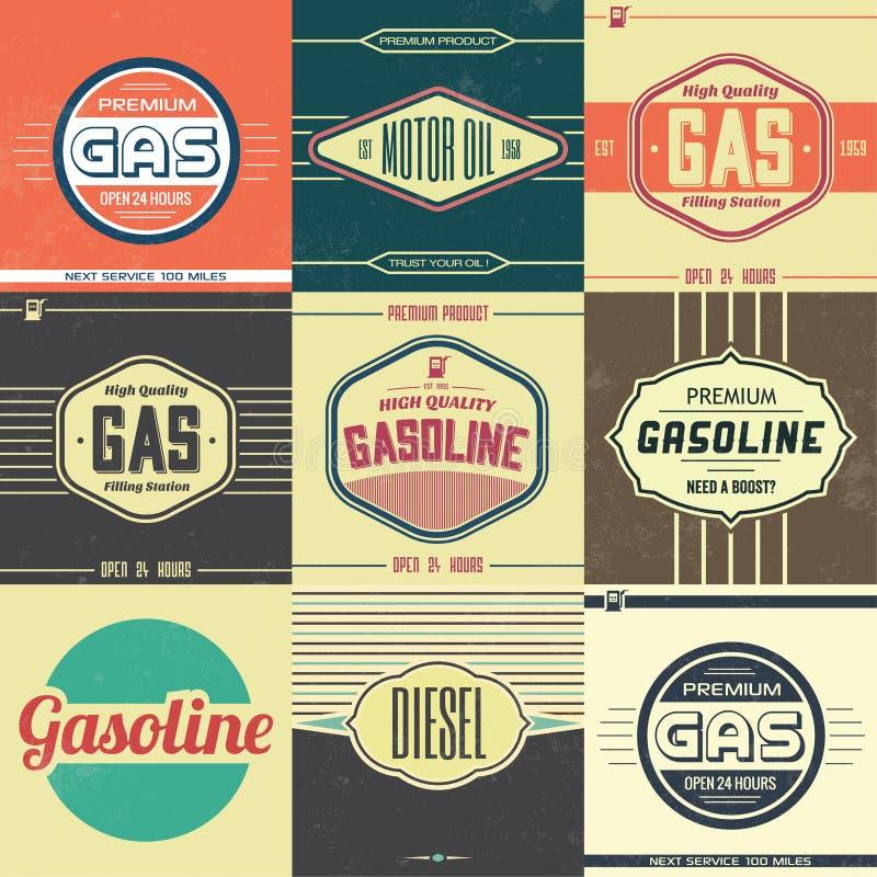 Kolekcja Retro benzyna znaki royalty ilustracja