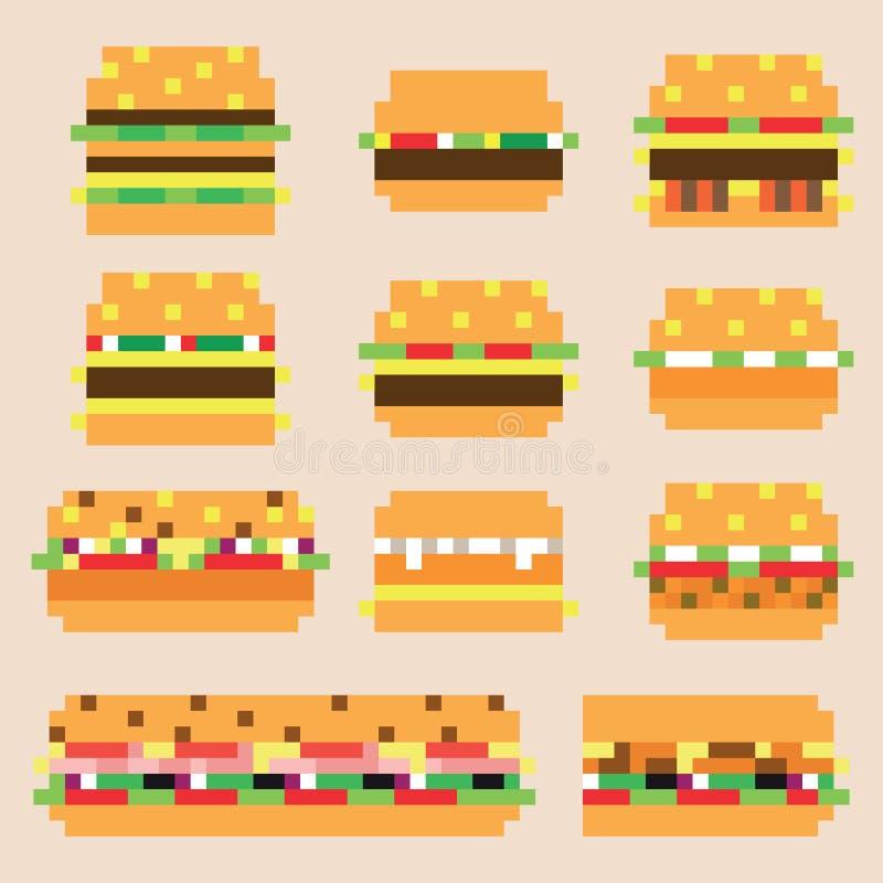 Kolekcja retro piksli hamburgery w wektorze royalty ilustracja