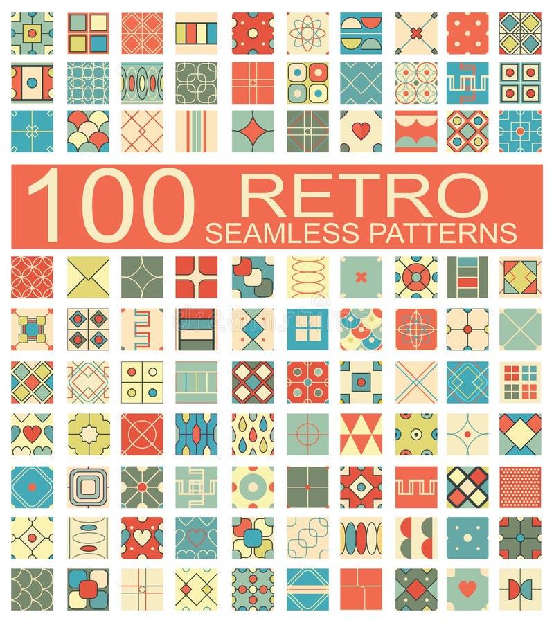 Kolekcja 100 retro różny wektorowy geometryczny bezszwowy patt royalty ilustracja