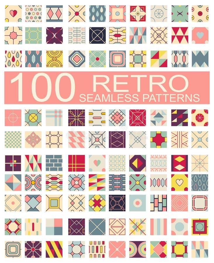 Kolekcja 100 retro różny wektorowy geometryczny bezszwowy patt ilustracji