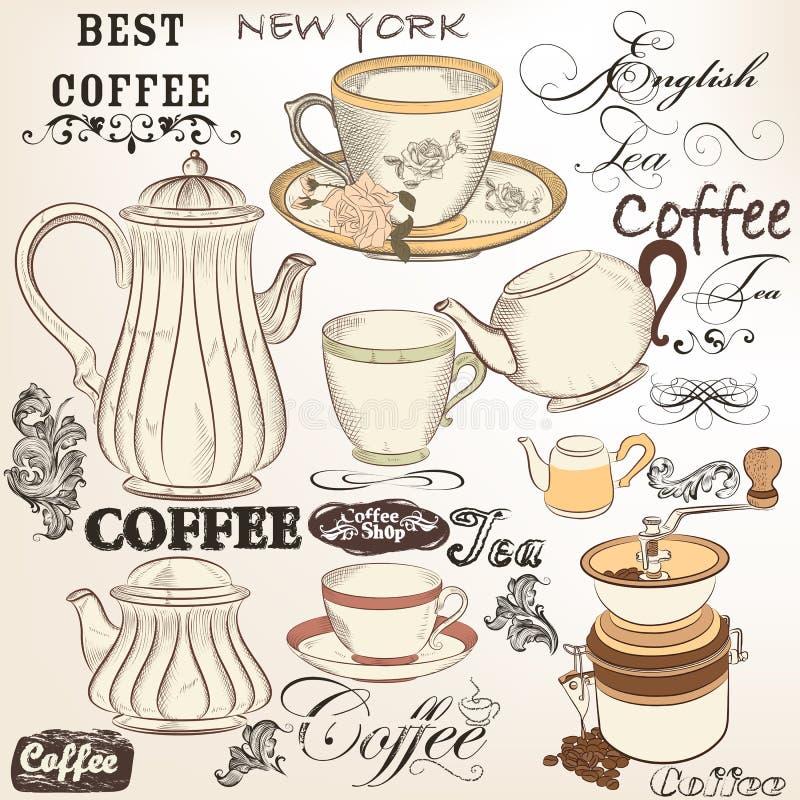 Kolekcja roczników wektorowi dekoracyjni elementy herbaciani i kawowi ilustracji