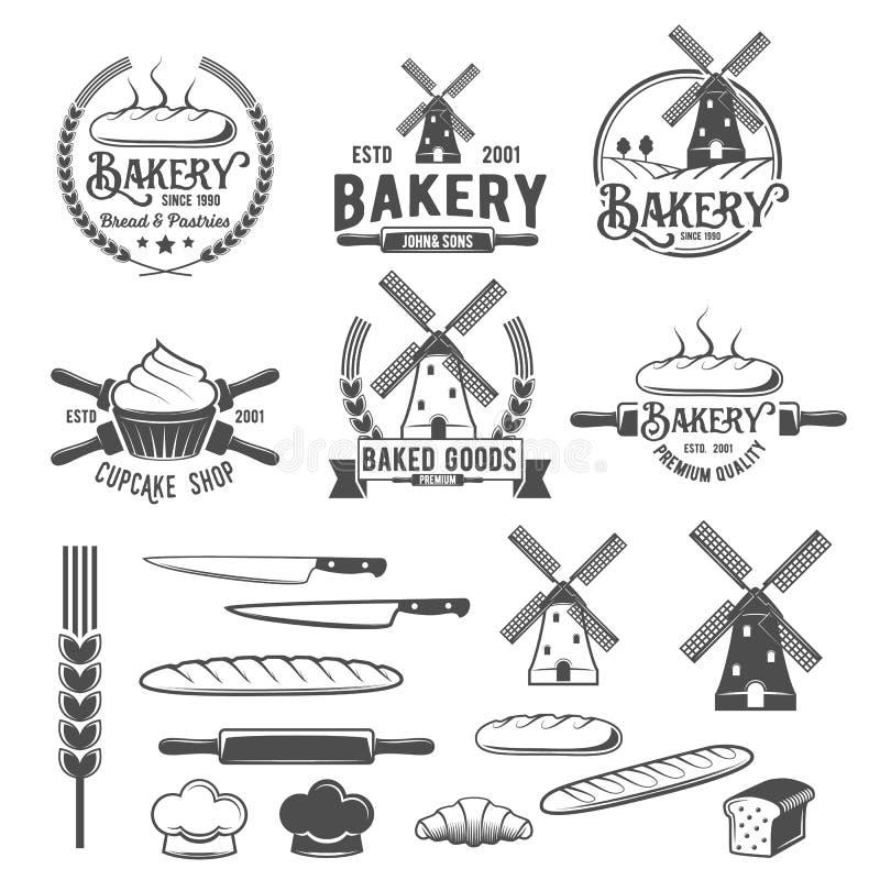 Kolekcja rocznik piekarni loga retro odznaki i etykietki royalty ilustracja