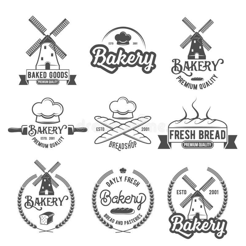 Kolekcja rocznik piekarni loga retro odznaki i etykietki ilustracja wektor