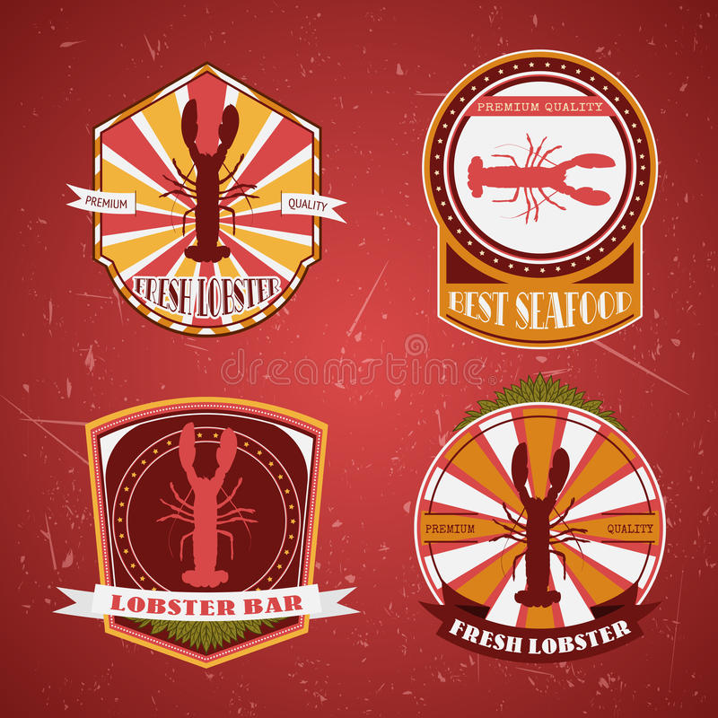 Kolekcja rocznika grunge retro homara restauracyjne etykietki, odznaki i ikony, ilustracja wektor