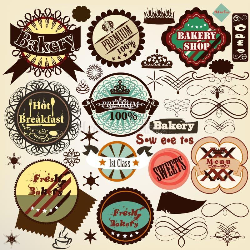 Kolekcja rocznika wektorowy jedzenie przylepia etykietkę piekarnię i cukierki ilustracji