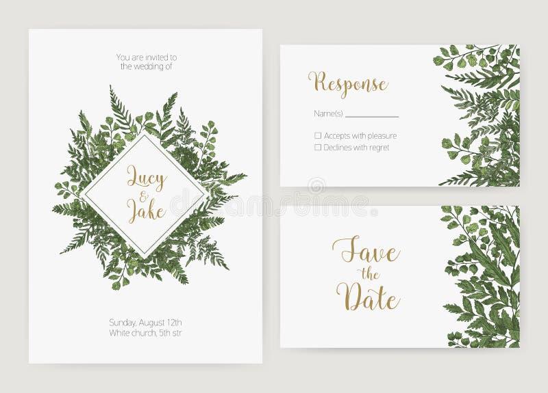 Kolekcja romantyczny ślubny zaproszenie, Save daty i odpowiedzi karcianych szablony dekorujących z zielonymi lasowymi paprociami ilustracja wektor