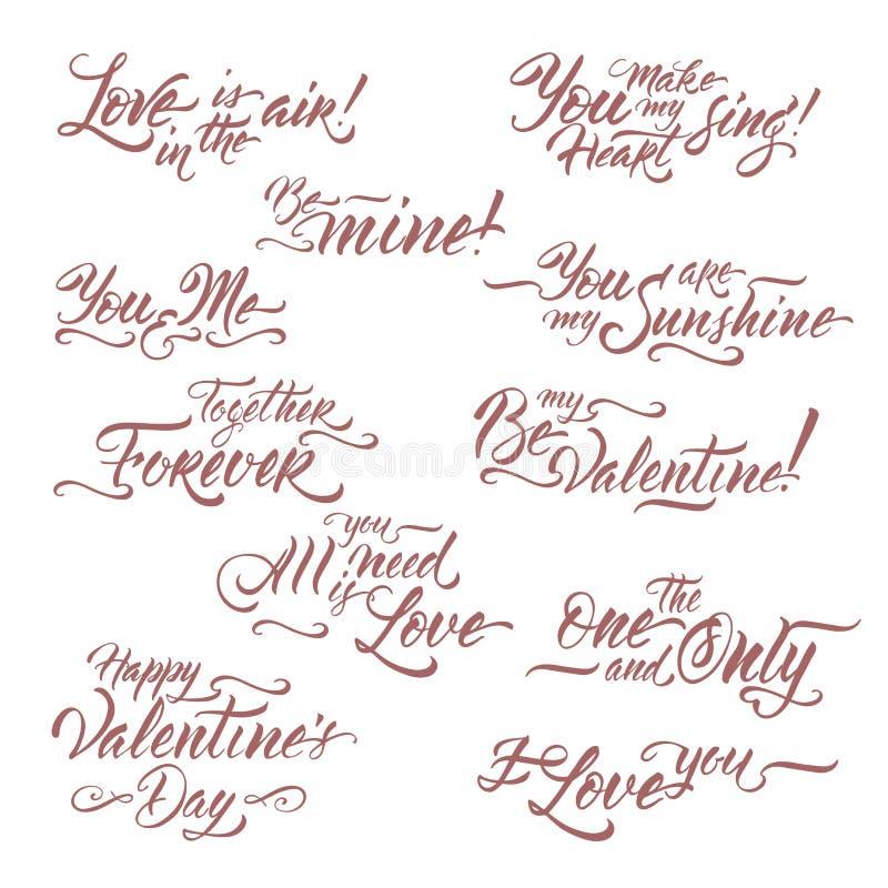 Kolekcja romantyczny szczotkarski literowanie frazuje saing Był mój walentynką, kocham ciebie, Wszystko ty potrzebujesz jest miło royalty ilustracja