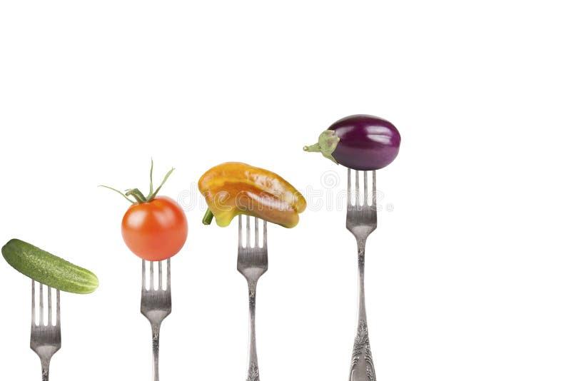 Kolekcja rozwidlenia z warzywami odizolowywającymi na białym backgrou zdjęcia stock