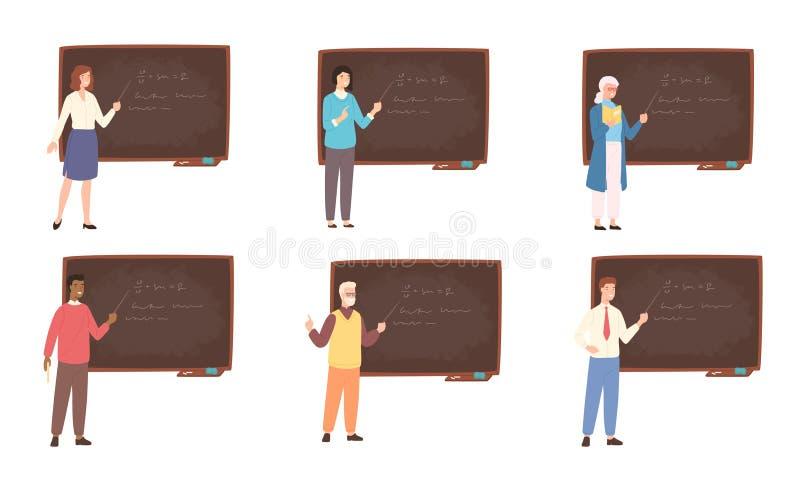 Kolekcja samiec, kobiety szkoły wyższa i szkoły nauczyciele lub, profesorzy, edukacja pracownicy stoi obok chalkboard ilustracja wektor