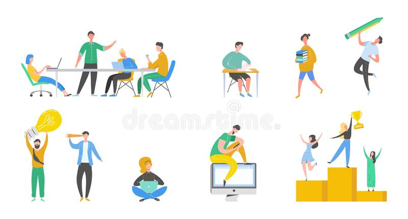Kolekcja sceny przy biurem Set mężczyźni i kobiety bierze udział w negocjacji, biznesowy spotkanie, brainstorming, pracuje royalty ilustracja