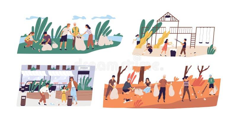 Kolekcja sceny z ludźmi lub ekologami zbiera śmieci w lesie, na ulicie i boisku altruistyczny royalty ilustracja