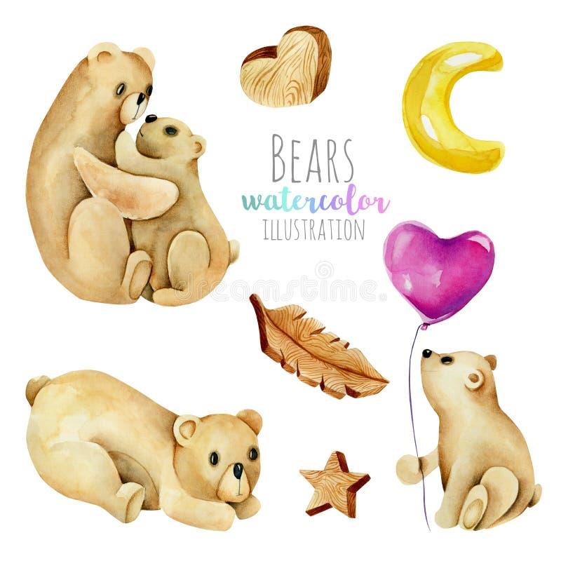 Kolekcja, set akwarela śliczni niedźwiedzie i wodden element ilustracje ilustracji
