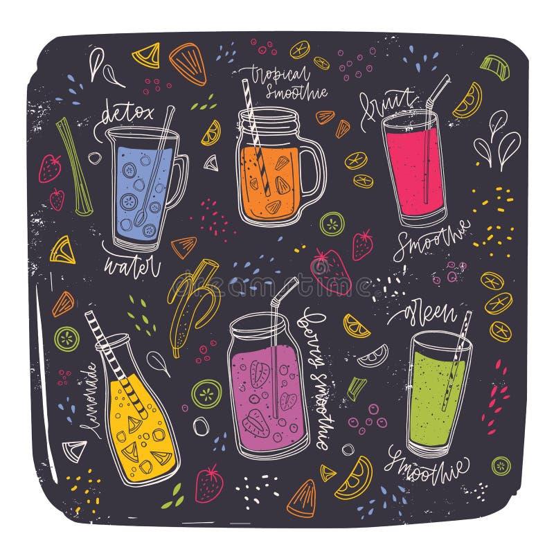Kolekcja smoothies w szkłach, butelkach, słojach i dzbankach z słomą otaczającą, egzotycznymi owocowymi plasterkami i jagodami Se ilustracja wektor