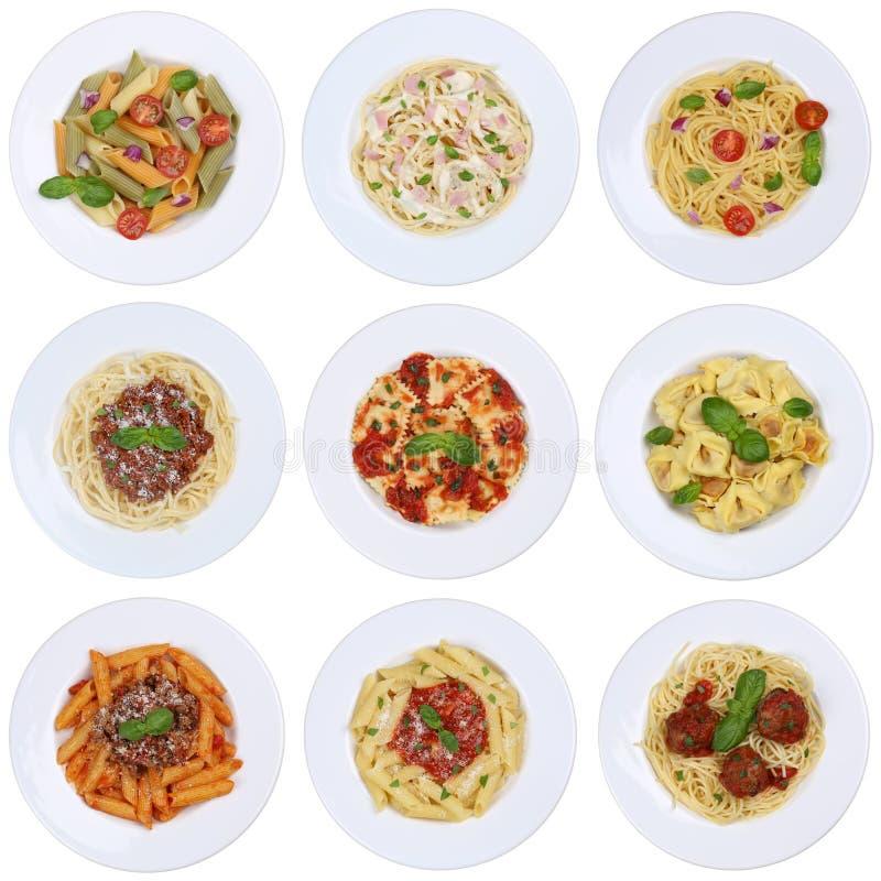 Kolekcja spaghetti, pierożków klusek makaronu posiłek odizolowywający obraz royalty free