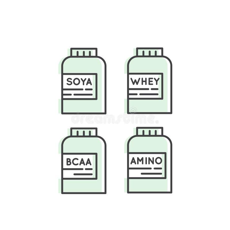 Kolekcja sprawności fizycznej i Bodybuilding nadprogram: Amino, BCAA, serwatki proteina, Soya proteiny paczka ilustracji