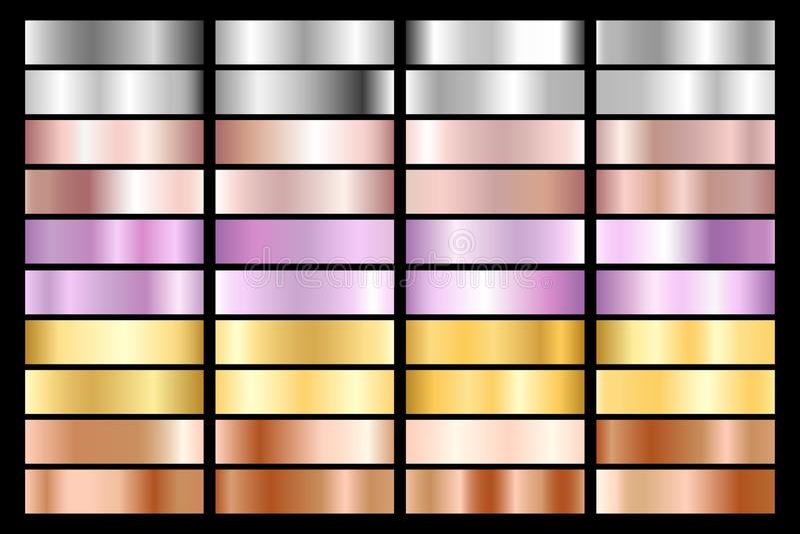 Kolekcja srebro, chrom, złoto, różany złoto brązowy kruszcowy i pozafioletowy gradient również zwrócić corel ilustracji wektora ilustracji