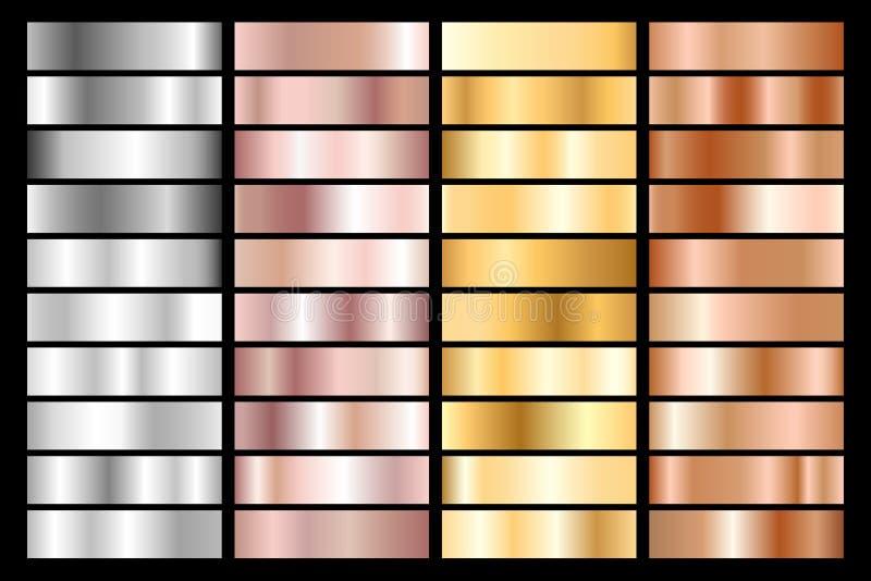Kolekcja srebro, chrom, złoto, różany złoto i brązowy kruszcowy gradient, również zwrócić corel ilustracji wektora ilustracja wektor