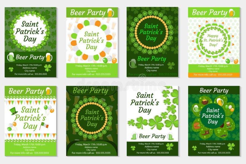 Kolekcja St Patrick ` s dnia zaproszenie, plakat, ulotka Piwa przyjęcie ustawia szablon dla twój projekta z koniczyną ilustracja wektor