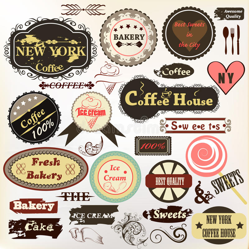 Kolekcja stare projektować odznaki lub etykietki kawy dom, piekarnia a ilustracji