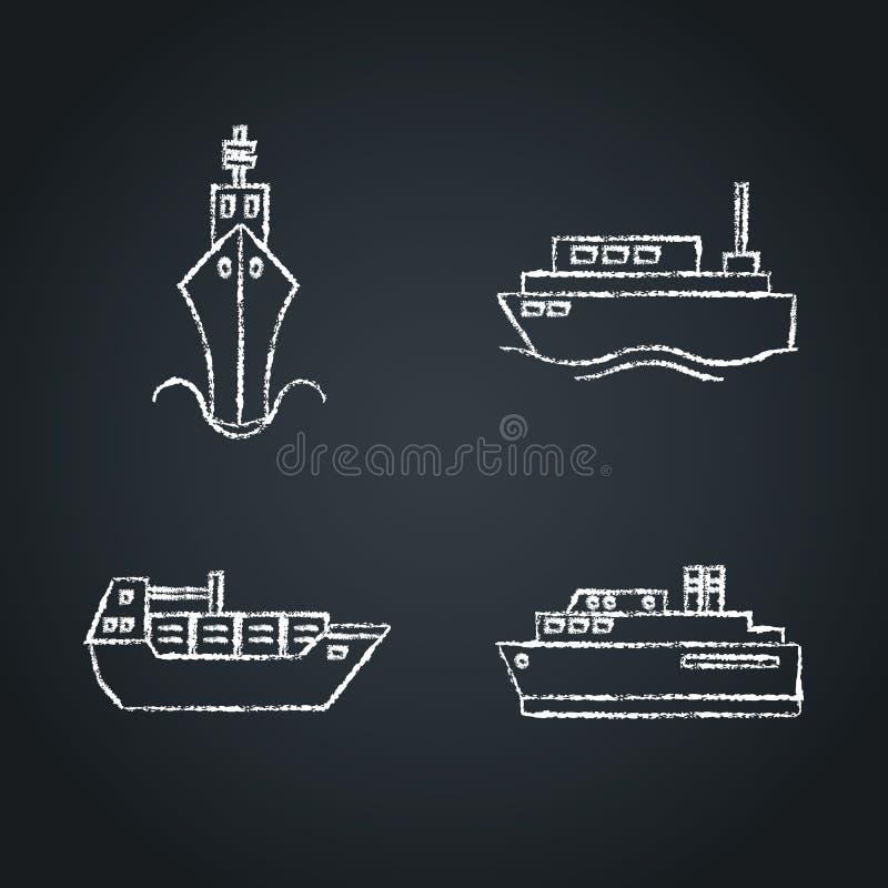 Kolekcja statek ikony nakreślenia na chalkboard royalty ilustracja