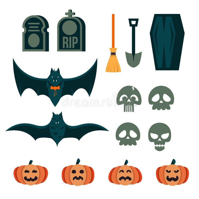 Kolekcja straszne Halloween wydarzenia dekoraci rzeczy i projektów elementy dla gry i app projekta ilustracja wektor