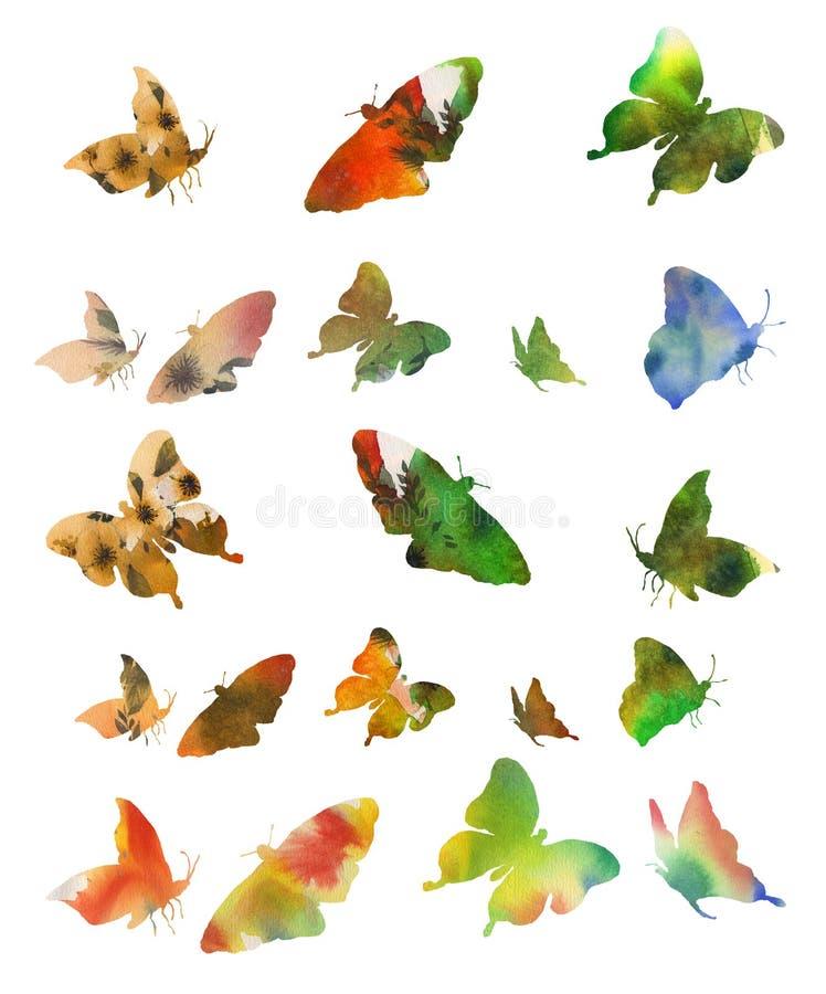 Kolekcja stubarwni motyle akwarela royalty ilustracja