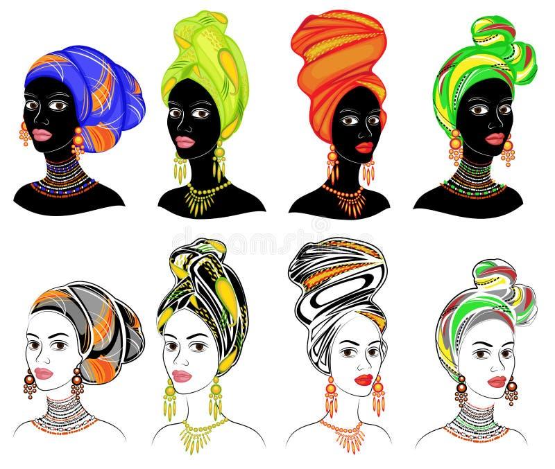 Kolekcja Sylwetka g?owa s?odka dama Jaskrawa chusta, turban wi??e na g?owie afroameryka?ska dziewczyna _ ilustracji