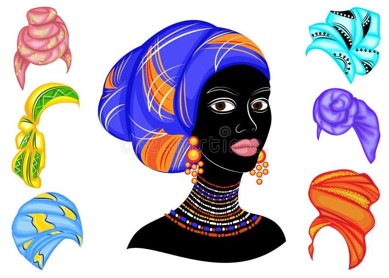 Kolekcja Sylwetka g?owa s?odka dama Jaskrawa chusta, turban wi??e na g?owie afroameryka?ska dziewczyna _ royalty ilustracja