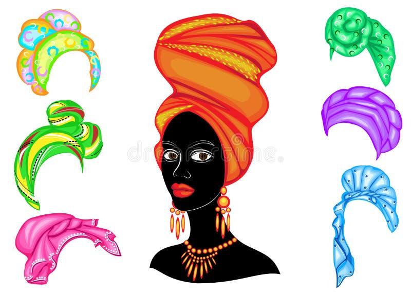 Kolekcja Sylwetka g?owa s?odka dama Jaskrawa chusta, turban wi??e na g?owie afroameryka?ska dziewczyna _ ilustracja wektor
