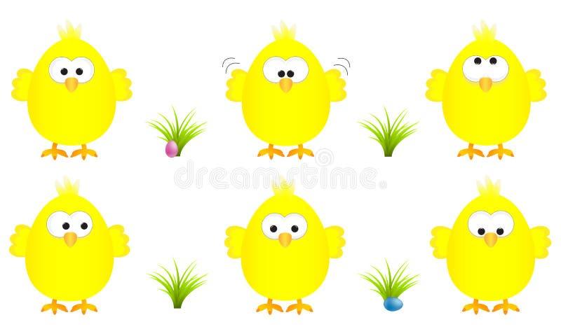 Kolekcja sześć śmiesznych żółtych Easter kurczątek z kilka wyrażeniami, wektorowa ilustracja royalty ilustracja
