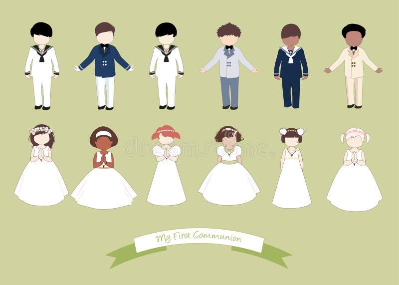 Kolekcja sześć dzieci i sześć dziewczyn jest ubranym Pierwszy komunię odziewa ilustracja wektor