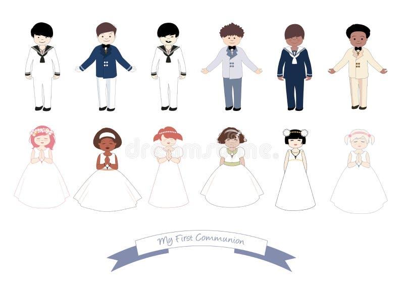 Kolekcja sześć dzieci i sześć dziewczyn jest ubranym Pierwszy komunię odziewa royalty ilustracja