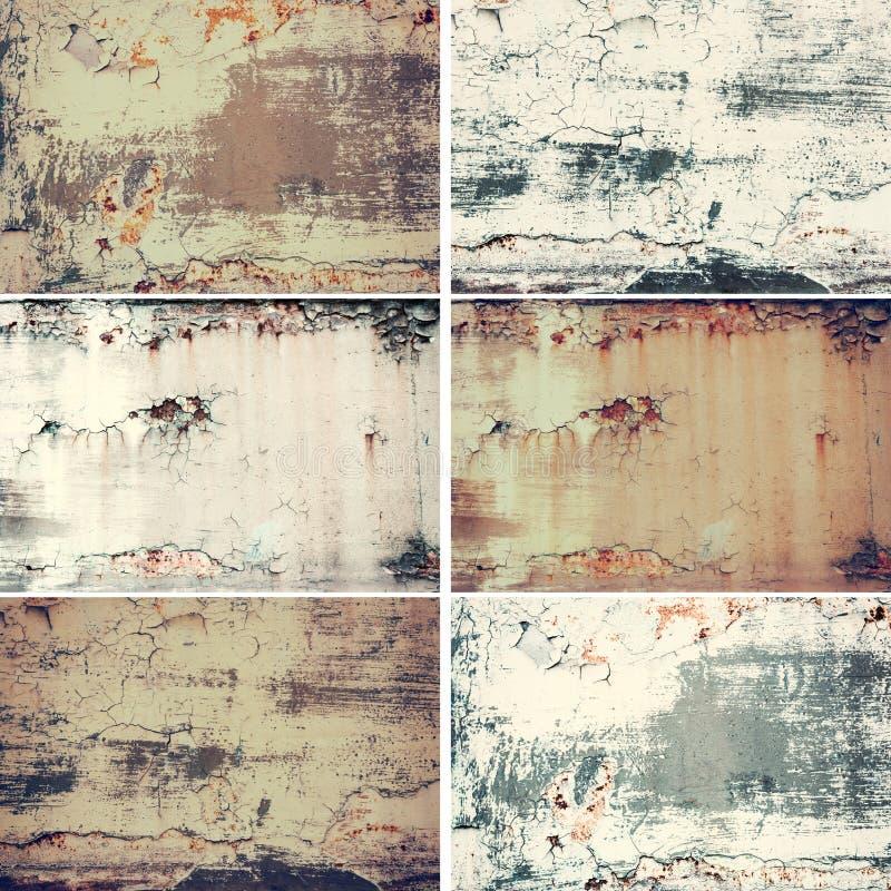 Kolekcja sześć horyzontalnych wizerunków z rocznika grunge metalu ośniedziałą starą teksturą, abstrakcjonistyczny tło zdjęcia royalty free