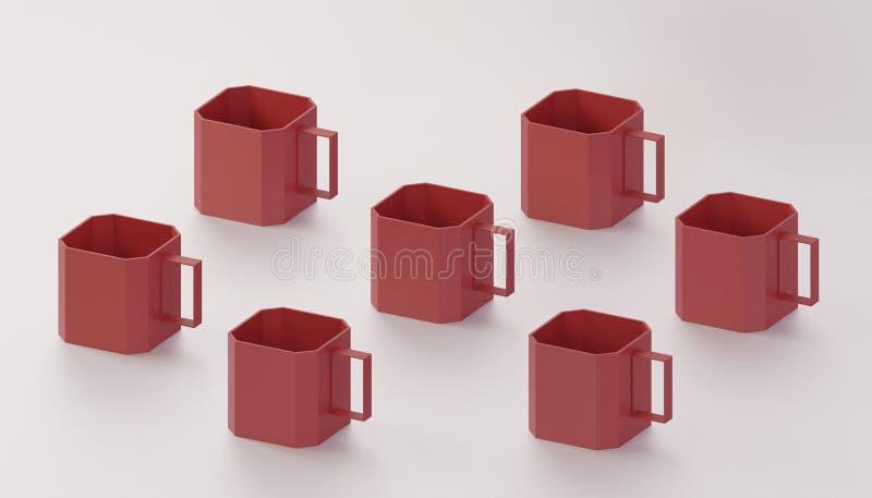 Kolekcja sztuki 3d odpłaca się czerwoną kubiczną filiżanki sztukę współczesną dla dekoruje fotografia royalty free