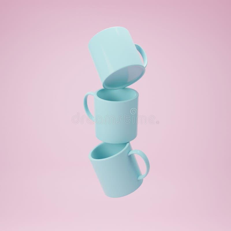 Kolekcja sztuki filiżanka 3d odpłaca się od wyobraża sobie antego spoważnienie w różowym plastikowym nowożytnym stylu ilustracji