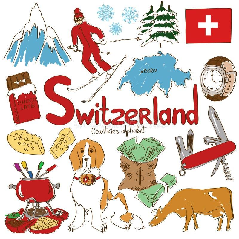 Kolekcja Szwajcaria ikony royalty ilustracja